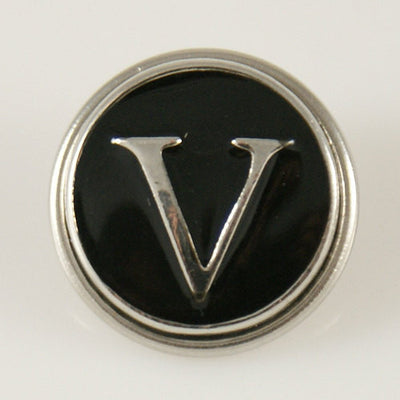 1 PC 18MM Black Enamel Letter V Silver Candy Snap Charm kb1272 CC0956
