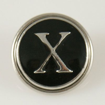 1 PC 18MM Black Enamel Letter X Alphabet Silver Candy Snap Charm kb1274 CC0958