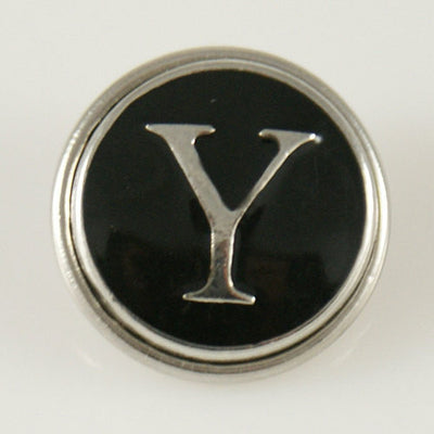 1 PC 18MM Black Enamel Letter Y Alphabet Silver Candy Snap Charm kb1275 CC0959