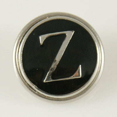 1 PC 18MM Black Enamel Letter Z Silver Candy Snap Charme kb1276 CC0960