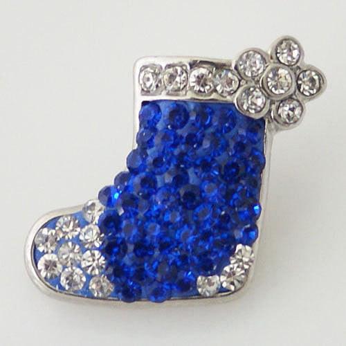 1 PC 18MM Blue Christmas Stocking Rhinestone Silver Candy Snap Charm kb4372 CC0970