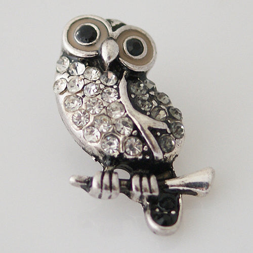 1 PC 18MM White Owl Animal Rhinestone Silver Snap Candy Charm kb8028 CC0992