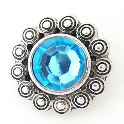 1 PC 18MM Blue Rhinestone Silver Candy Snap Charm kb8130 CC0999