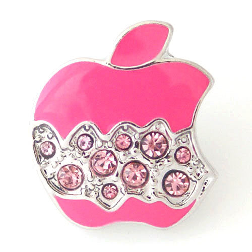 1 PC 18MM Pink Apple Food Rhinestone Silver Snap Candy Charm kb8165 CC1007