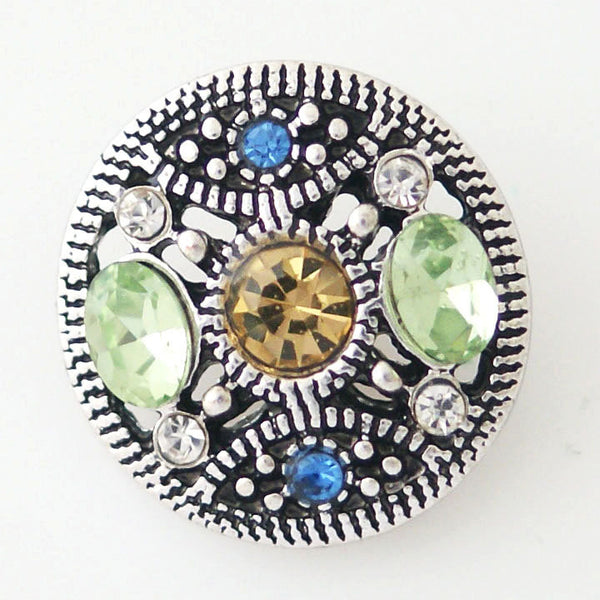 1 PC 18MM Blue Green Rhinestone Silver Candy Snap Charm kb8168 CC1009