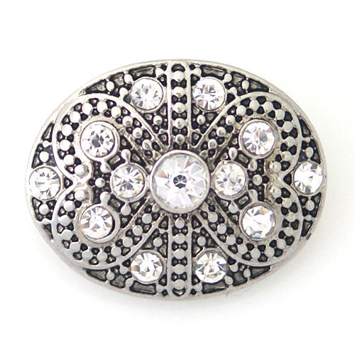 1 PC 18MM White Oval Rhinestone Silver Candy Snap Charm kb8742 CC1019