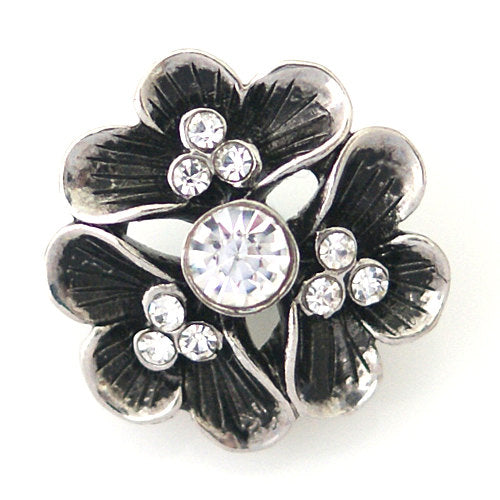 1 PC 18MM White Flower Rhinestone Silver Snap Candy Charm kb8788 CC1028