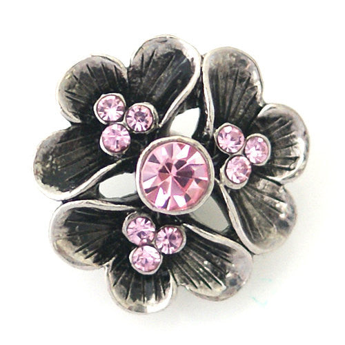 1 PC 18MM Pink Flower Rhinestone Silver Snap Candy Charm kb8790 CC1030