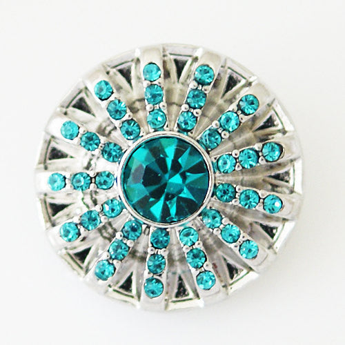 1 PC 18MM Blue Rhinestone Silver Candy Snap Charm kb5299 CC0973