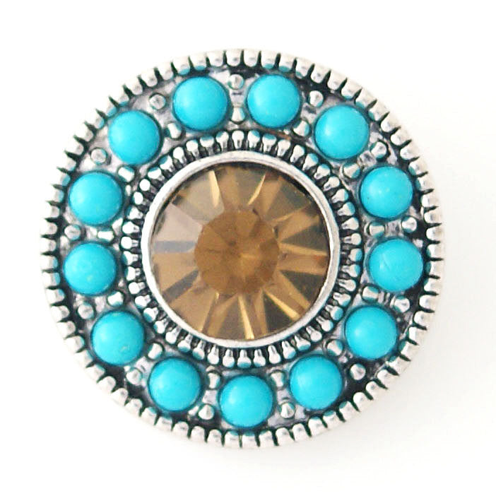 1 PC 18MM Blue Amber Rhinestone Silver Candy Snap Charm kb6428 CC0979