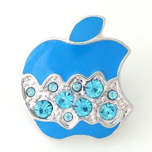 1 PC 18MM Blue Apple Food Rhinestone Silver Candy Snap Charm kb8166 CC1008