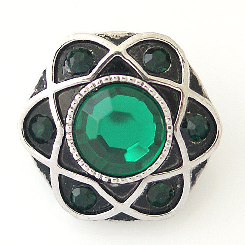 1 PC 18MM Green Rhinestone Silver Candy Snap Charm kb8799 CC1038