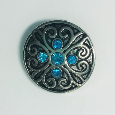 1 PC 18MM Blue Rhinestone Silver Snap Candy Charm Limited Edition CC1056
