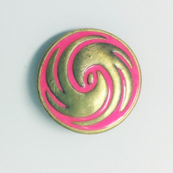 1 PC 18MM Pink Enamel Swirl Bronze Candy Snap Charm Limited Edition CC1058