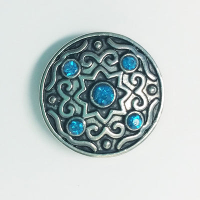 1 PC 18MM Blue Rhinestones Silver Candy Snap Charm Limited Edition CC1065