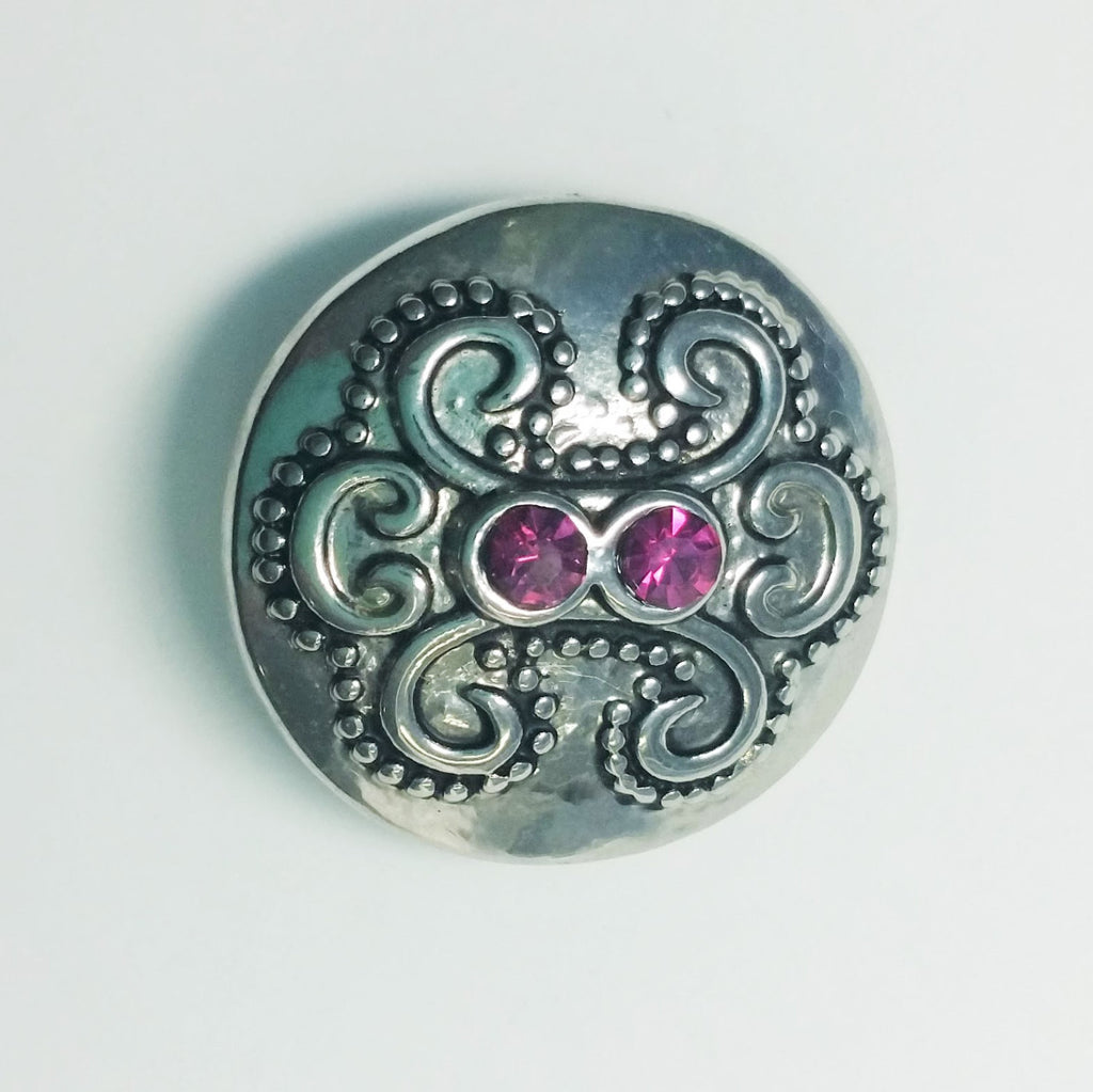 1 PC 18MM Pink Rhinestones Silver Candy Snap Charm Limited Edition CC1061