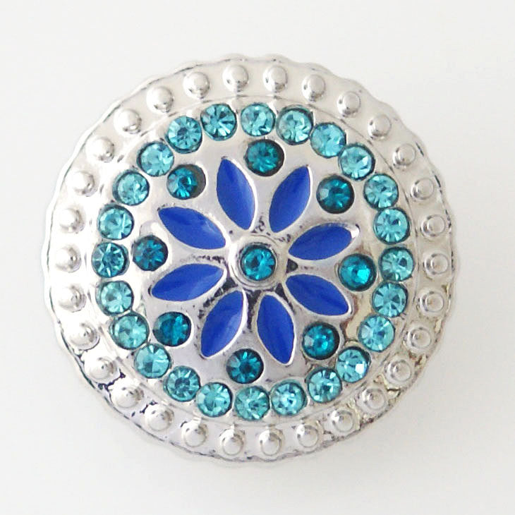 1 PC 18MM Blue Flower Rhinestone Silver Snap Candy Charm kb8116 CC1104
