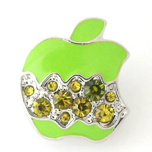 1 PC 18MM Green Apple Food Rhinestone Silver Candy Snap Charm kb8167 CC1110