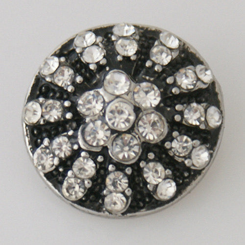 1 PC 18MM White Rhinestone Silver Candy Snap Charm Kb7706 CC1177