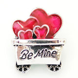 1 PC 18MM Be Mine Cart of Red Hearts Silver Snap Candy Charm KB8188 CC1180