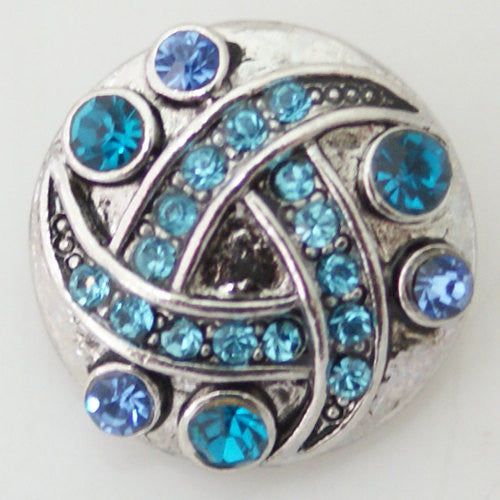 1 PC 18MM Blue Rhinestone Silver Candy Snap Charm KB8662 CC1181