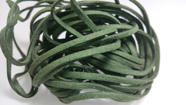 5 YARDS - 15 FEET Green Faux Suede Cord Leather Lace Ribbon Soft 3mm x 1.5mm #36