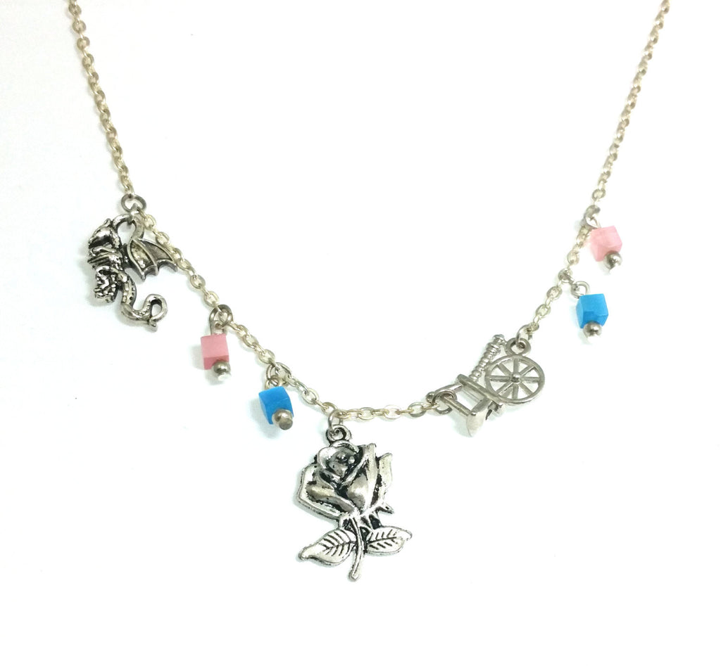 Sleeping Beauty Princess Briar RoseThemed Pendant Necklace Beaded Charm Glass Silver Lobster Clasp MC0093