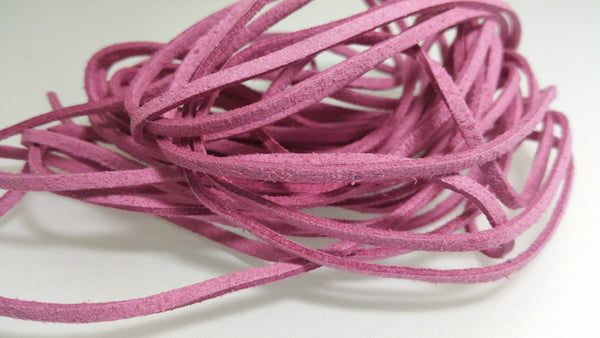 5 YARDS - 15 FEET Mauve Faux Suede Cord Leather Lace Ribbon Soft 3mm x 1.5mm #34
