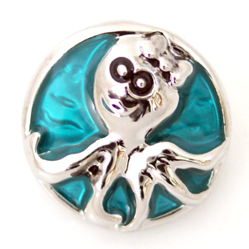 1 PC 18MM Octopus Ocean Animal Enamel Silver Snap Candy Charm ds5031 CC1206
