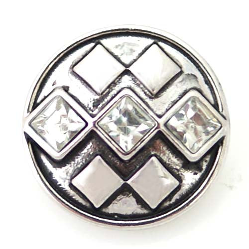 1 PC 18MM White Diamond Rhinestone Silver Candy Snap Charm ds5046 CC1345