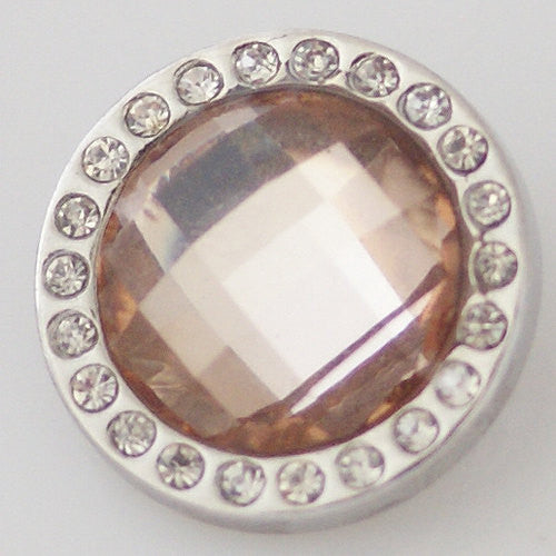 1 PC 18MM Peach Rhinestone Silver Candy Snap Charm KB3706 CC1416