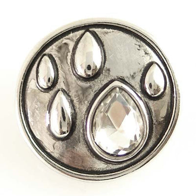 1 PC 18MM Raindrop Water Rhinestone Silver Candy Snap Charm ds5115 CC1440