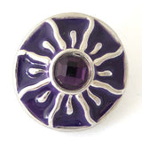 1 PC 18MM Purple Enamel Rhinestone Silver Candy Snap Charm kb8208 CC1459