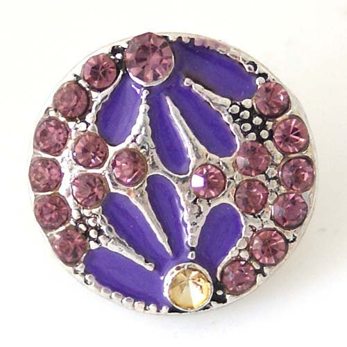 1 PC 18MM Purple Flower Enamel Rhinestone Silver Candy Snap Charm kb8215 CC1462