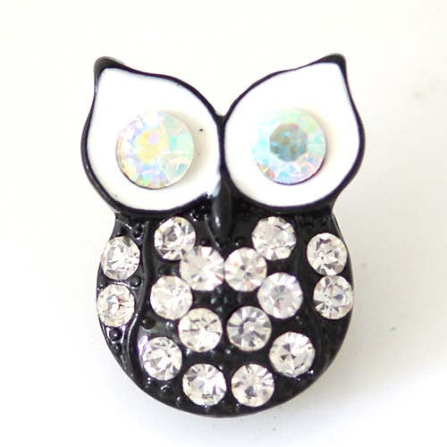 1 PC 18MM Black Rhinestone Owl Silver Snap Candy Charm kb8200 CC1454