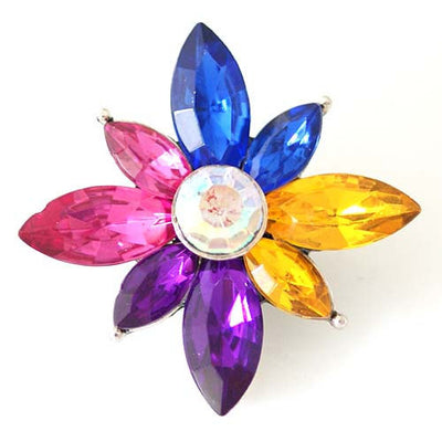 1 PC 18MM Rainbow Flower Rhinestone Silver Candy Snap Charm kb8216 CC1463
