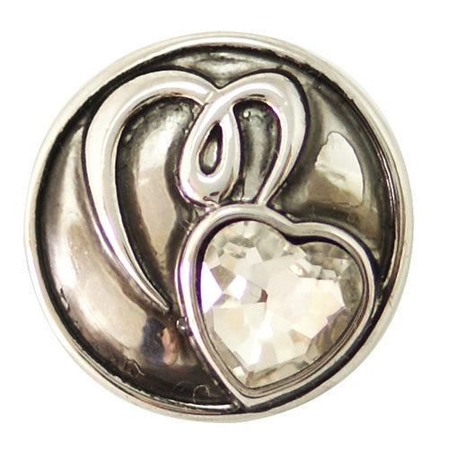 1 PC 18MM Heart Rhinestone Silver Candy Snap Charm ds5114 CC1466