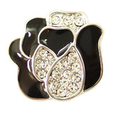 1 PC 18MM Rose Flower Rhinestone Silver Candy Snap Charm ds5116 CC1467