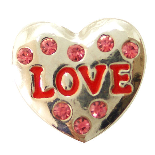 1 PC 18MM Pink Red Love Heart Rhinestone Silver Candy Snap Charm kb6494 CC1475