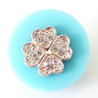 1 PC 18MM Blue Clover Resin Silver Candy Snap Charm kb6806 CC1484