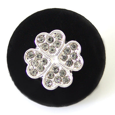 1 PC 18MM Black Clover Resin Silver Candy Snap Charm kb6808 CC1486