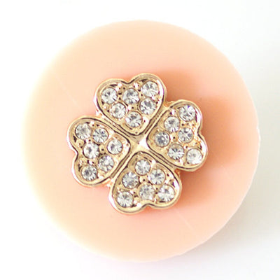 1 PC 18MM Pink Clover Resin Silver Candy Snap Charm kb6809 CC1487