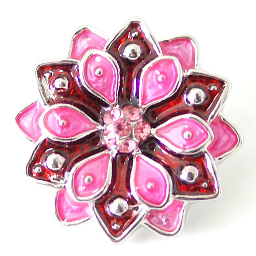 1 PC 18MM Pink Red Flower Enamel Silver Candy Snap Charm kb7103 CC1507