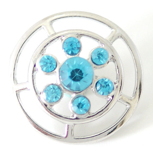 1 PC 18MM Blue Rhinestone Silver Candy Snap Charm kb7109 CC1513
