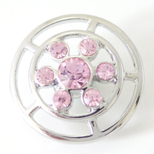 1 PC 18MM Pink Rhinestone Silver Candy Snap Charm kb7110 CC1514
