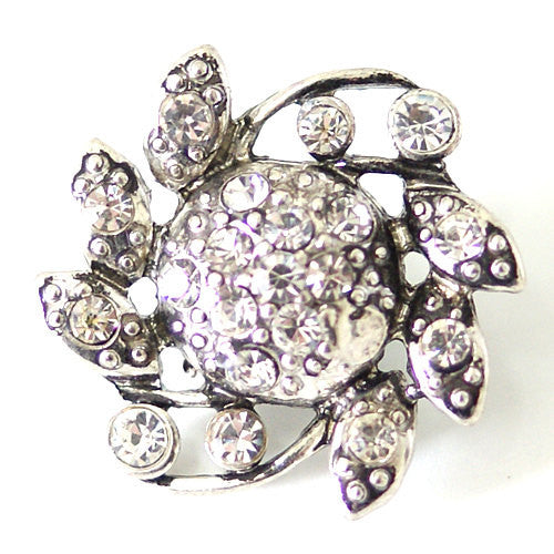 1 PC 18MM White Rhinestone Silver Candy Snap Charm kb7114 CC1515