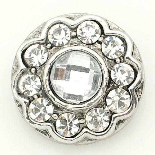 1 PC 18MM White Rhinestone Silver Candy Snap Charm kb8863 CC1564