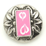 1 PC 18MM Pink White Heart Enamel Silver Candy Snap Charm kb8866 CC1567