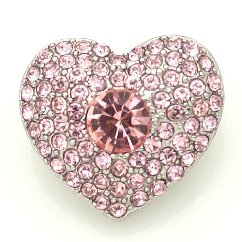 1 PC 18MM Pink Heart Rhinestone Silver Snap Candy Charm kb8871 CC1572