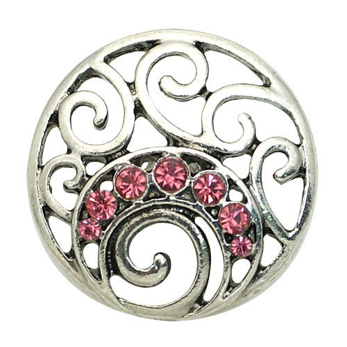 1 PC 18MM Pink Flourish Rhinestone Silver Snap Candy Charm kb8876 CC1577